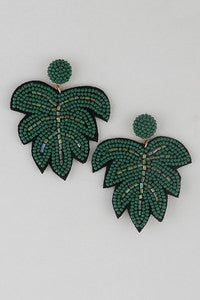Beaded Green Leaf Earrings