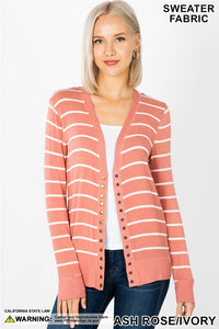 Ash Rose Stripe Snap Cardigan