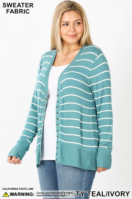 Plus Dusty Teal Stripe Snap Cardigan