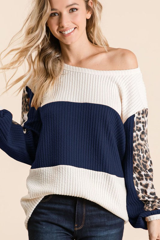 Plus Ribbed Leopard Sleeve Color block