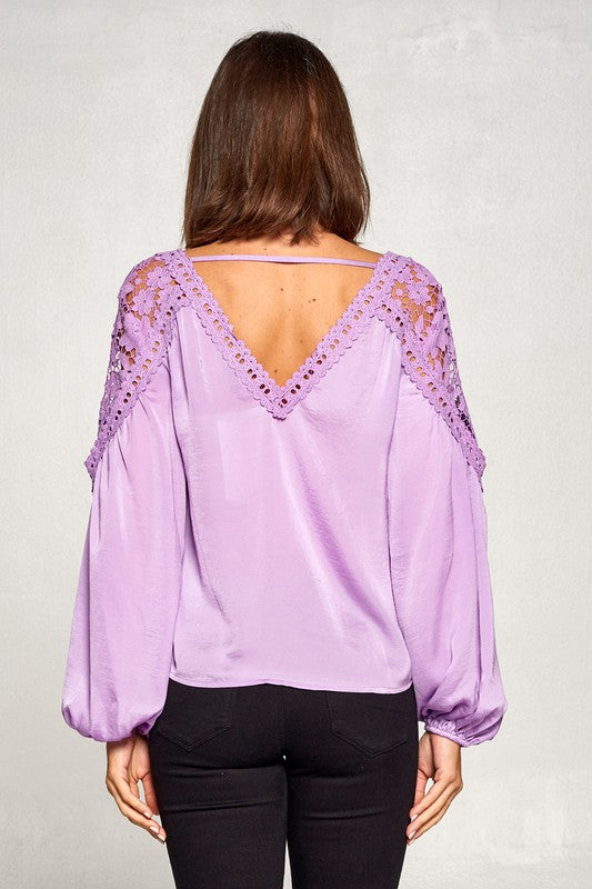 Lilac Lace Trimmed Blouse
