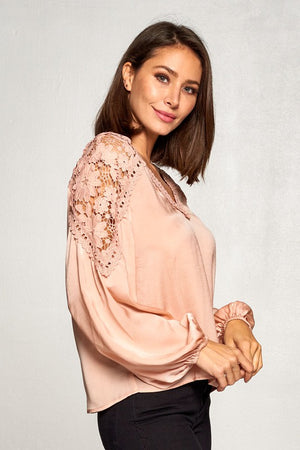 Champagne Lace Trimmed Blouse