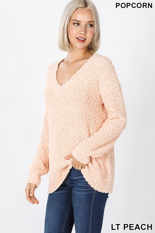 Lt Peach Popcorn V-Neck Sweater