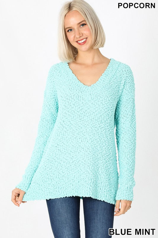 Blue Mint Popcorn V-Neck Sweater
