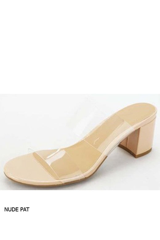Nude Clear Strap Patent Leather Heal