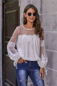 Lantern Sleeve Lace Detail Top