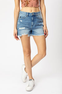 Hazel High Rise Medium Distressed Kan Can Shorts