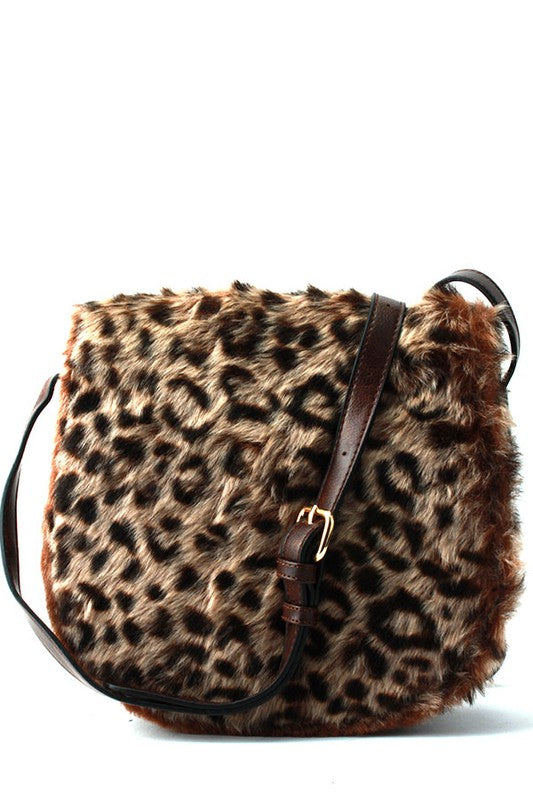 Coffee Leopard Fur Cross Body Purse