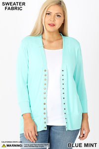Plus 3/4 Sleeve Snap Cardigan