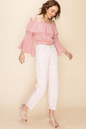 Raw Edge Bell Sleeve Crop Top