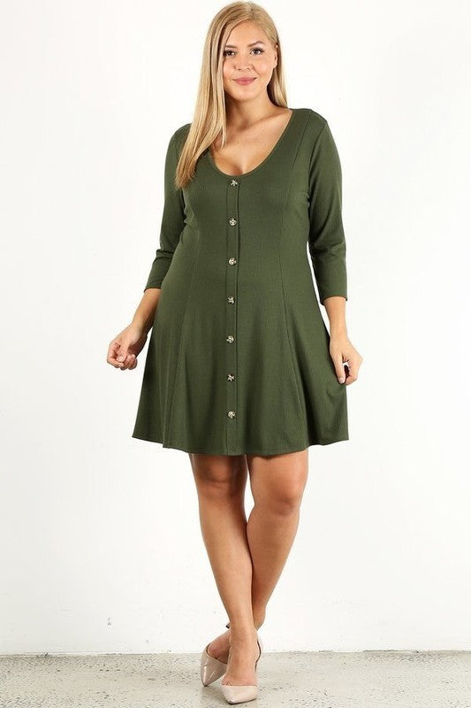 Plus Olive Button Down Ribbed Dress