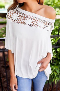 Boat Neck Crochet Detail Top