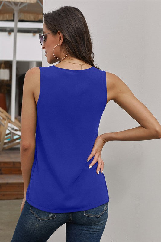Zip Neckline Sleeveless Tank