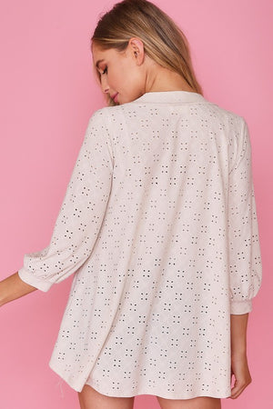 Eyelet Sleeve Button Front Top