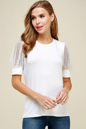 Sheer Dot Detail Sleeve Top