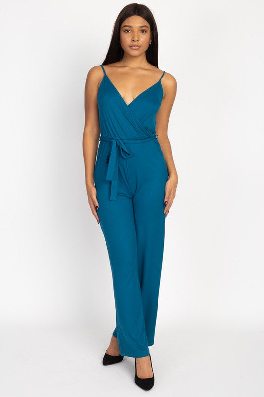 Teal Wrap Ribbed Jumpsuit