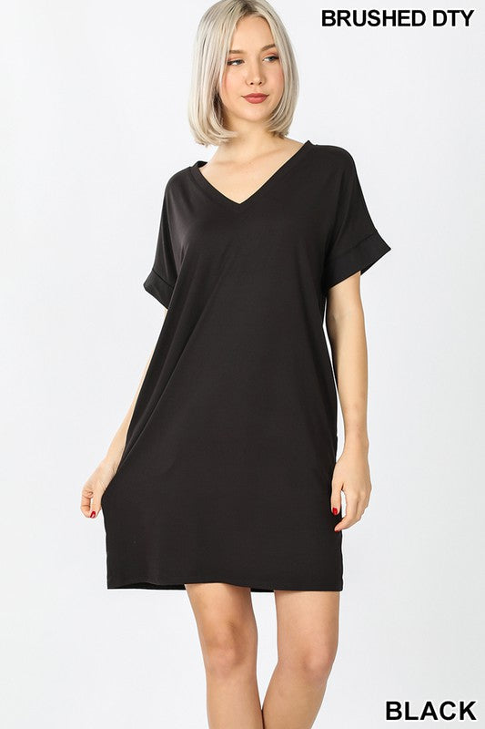 Rolled Sleeve Pocket Dress