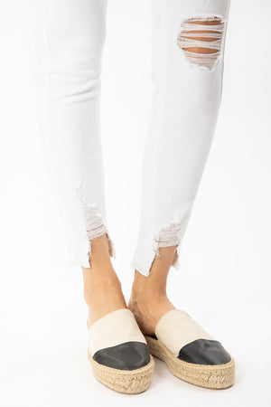 White High Rise Released Hem Skinny