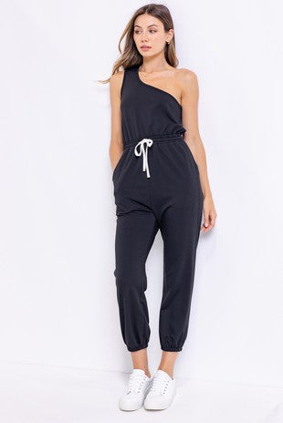 Black French Terry One-Shoulder Jumpsuit