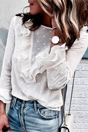 White Swiss Dot Shear Ruffled Blouse