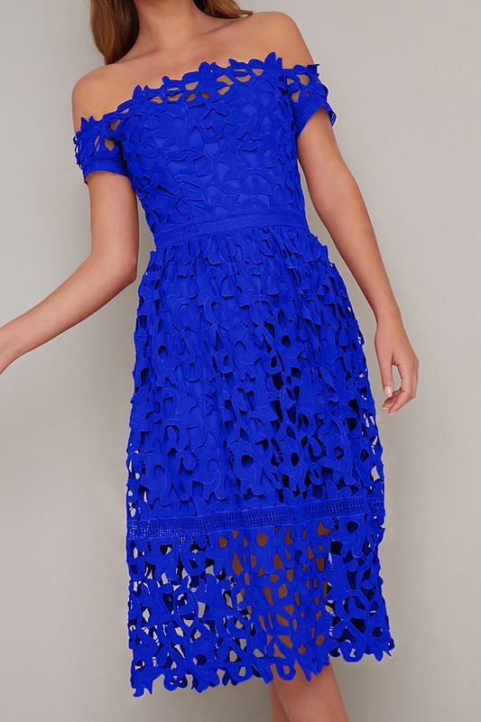 Royal Cap Sleeve Lace Dress