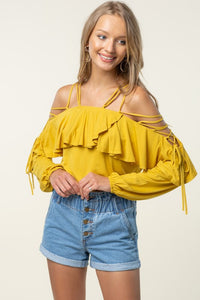 Criss Cross Tie Shoulder Ruffle Blouse