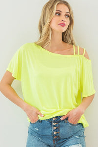 Neon Yellow Jersey Strapped One Shoulder Top