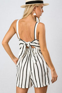 Ribbon Tie Open Back Stripe Romper