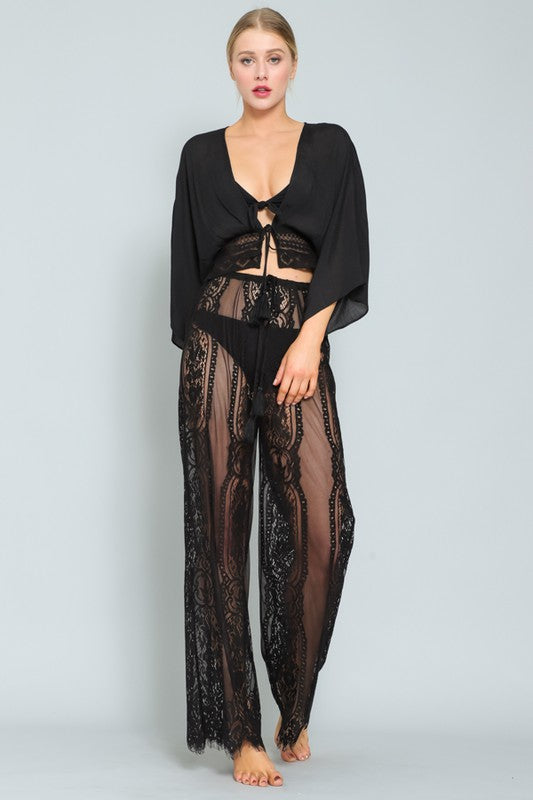 Black Tie Waist Lace Cover Up Pants