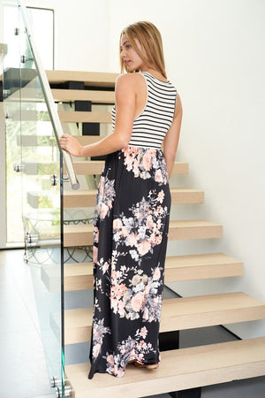 Stripe Floral Bottom Maxi Dress