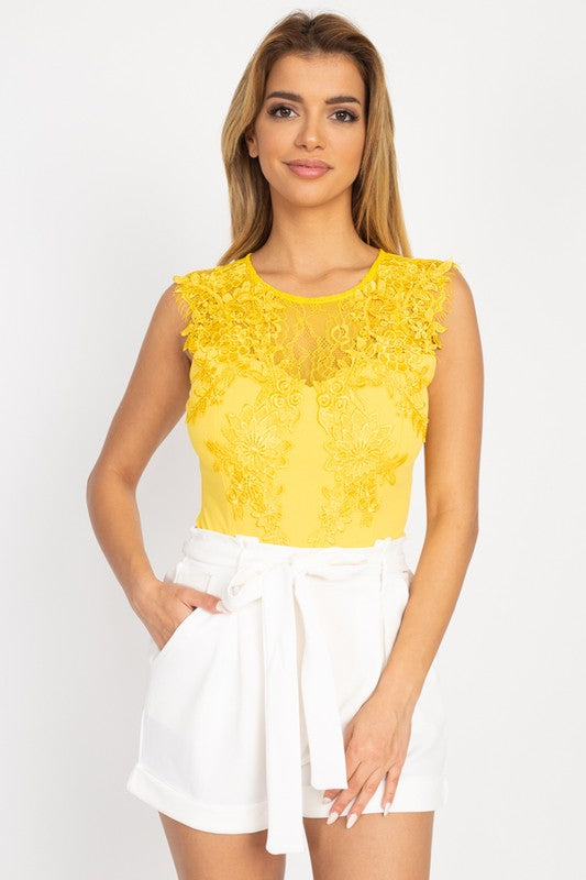 Yellow Lace Embroidered Cutout Bodysuit
