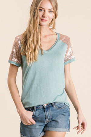 Washed Rayon Sequin Sleeve V-Neck Tee