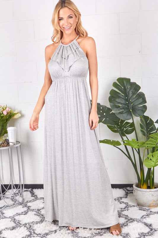 Front Ruffle Back String Maxi Dress