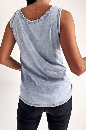 Sleeveless Distressed Soft Denim Top