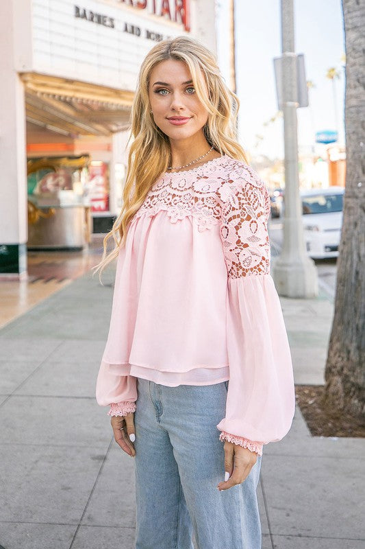 Blush Lace Trim Blouse
