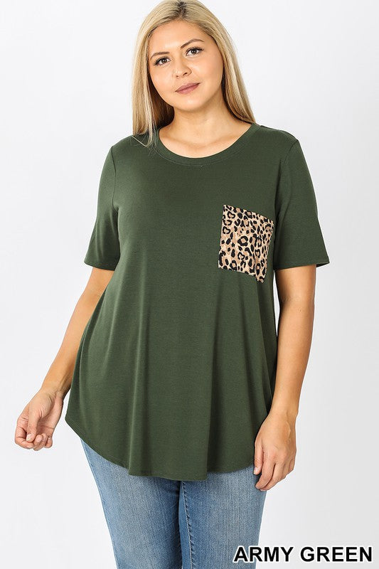 Crew Neck Leopard Print Pocket Tee