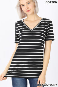 Black Stripe V-Neck Short Sleeve Tee