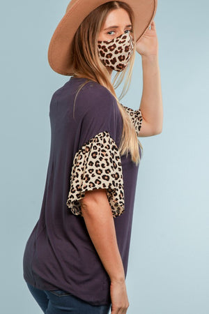 Charcoal Leopard Bell Sleeve Top
