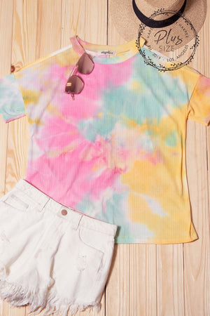 Tie Dye Pointelle Cold Shoulder Top