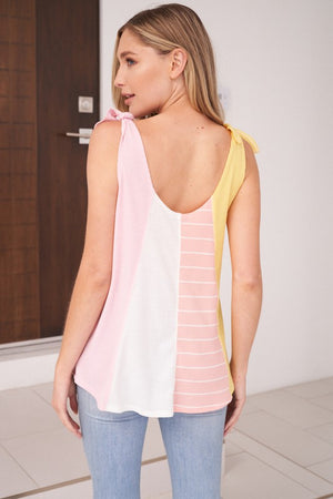Sleeveless Self Tie Color Block Knit Top