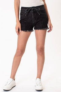 Black Bow High Rise  Kan Can  Shorts