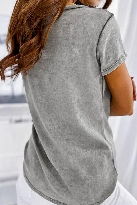 Deep V Mineral Washed Button Detail Tee