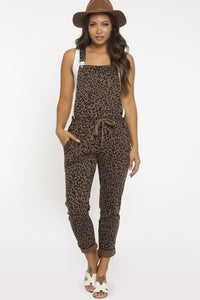 Leopard Print French Terry Overalls