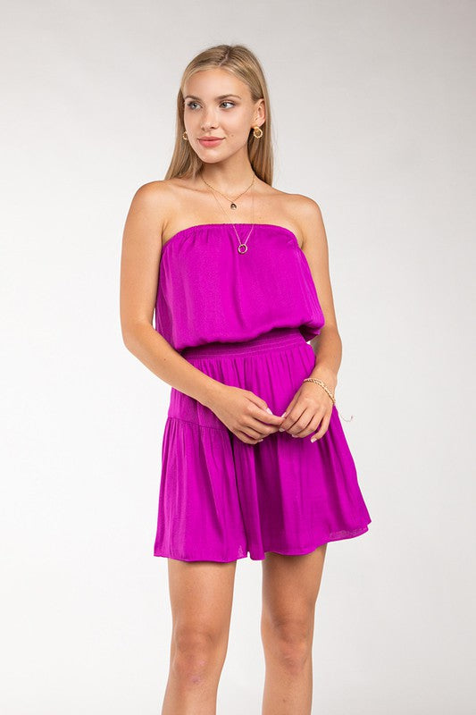 Tiered Smocked Strapless dress