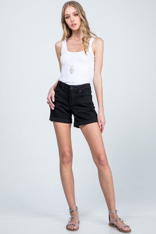 Black Mid Rise Distressed Short