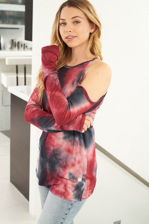 Long Sleeve Tie Dye Knit Top