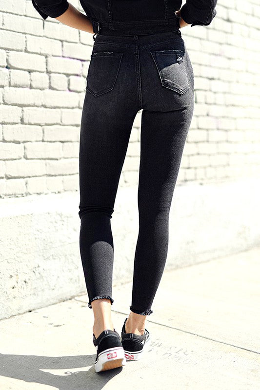 Risen High Waist Cut Ankle Skinny
