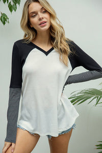 Plus Color Block Sleeve Raglan Top