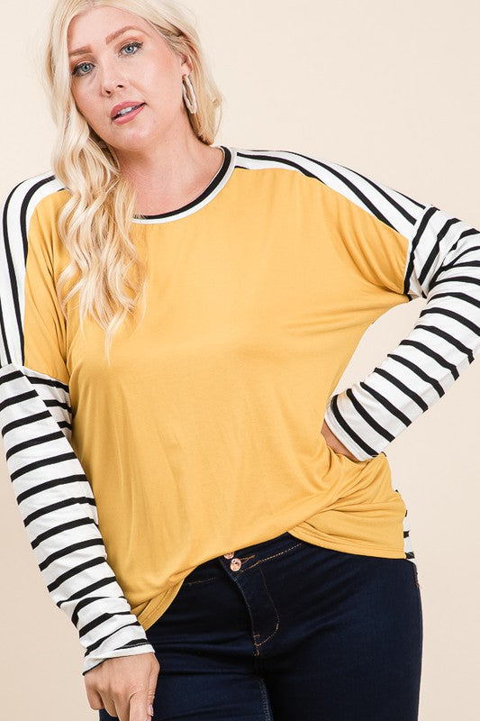 Plus Mustard Stripe Fabric Mix Top