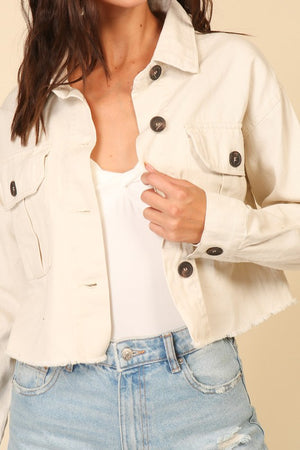 Natural Cropped Button Down Jacket